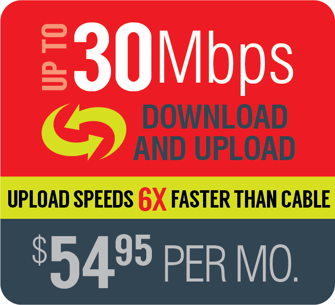Broadband up to 30Mbps $54.95