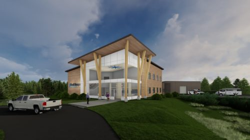 Rendering of Paul Bunyan Communications' Grand Rapids building