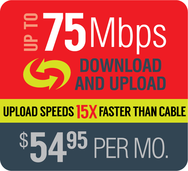 Broadband up to 75Mbps $54.95